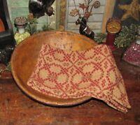 Prim Antique Vtg Style Charleston Red Tan Cotton Woven COVERLET RUNNER AQ78SR