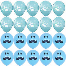 10X It's a Boy 10X Blue Smile Mustache Latex Round Balloons Baby Shower Supplies