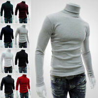 Mens Thermal Cotton Turtle Roll Neck Turtleneck Sweater Stretch Shirt Winter New