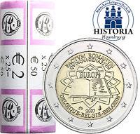 25 x Belgien 2 Euro Münzen 2007 bfr. 50 Jahre Römische Verträge in Rolle