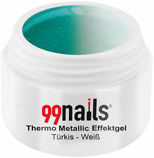 Thermo Metallic Effektgel Türkis-Weiß 5ml Thermogel Thermo Gel Nagel Gel UV Gel