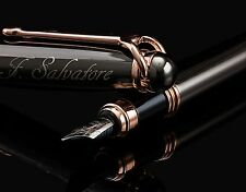 ELEGANT Fountain Pen with Medium Metal Tip Nib with Ink Refill Rose Gold Trim