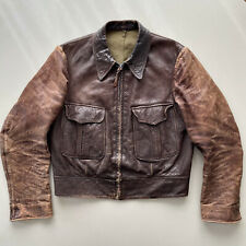 1930s VTG Vintage Leather Jacket Crown Zipper Made In USA Awesome Patina