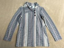 Ibex Reese Cardigan, Maya Print Brown/Cream, 3-Button Asym Collar, M Medium