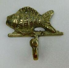 Brass Coat Hanger Figural Fish Shape Door Wall Hook