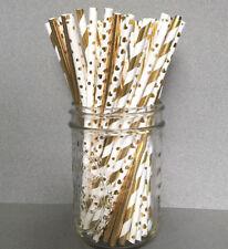 24 Gold Paper Straws, Gold Wedding Supplies, Gold Cake Pop Sticks, Foil Straws