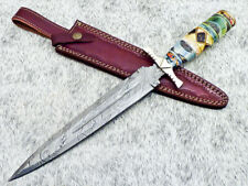 """Authentic HAND FORGED DAMASCUS 15.50"""" DAGGER KNIFE - CORIAN MATERIAL - TM-4622"""