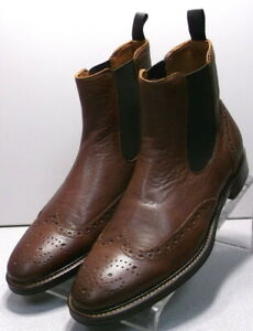203958 PFBT50 Men's Shoes Size 9.5 M Dark Tan Leather Boots Johnston & Murphy