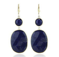 14K Yellow Gold Oval Lapis Lazuli Gemstone Earrings