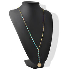 Women Lady Gril Blue Turquoise Beads Pendant Metal Bead Long Necklace Jewelry