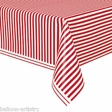 """54""""x108"""" RED White Stripes Style Party Disposable Plastic Table Cover"""