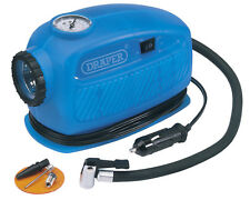 DRAPER 12V MINI ANALOGUE AIR TYRE COMPRESSOR with TORCH 250PSI MAX 65958