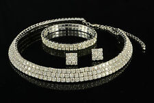 CRYSTAL RHINESTONE DIAMANTE COLLAR CHOKER NECKLACE, EARRINGS & BRACELET  SET