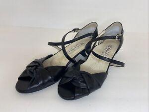 WERNER KERN DANCE SHOES BLACK LEATHER, PEEP TOE, LOW HEEL, Size 5.5 (US 9), EUC