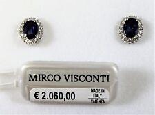 Orecchini in oro bianco 18kt 750/°°° MIRCO VISCONTI con Diamanti e Zaffiro