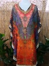 Loose Fitting Sheer Embellished Kaftan Round Hem Print Size 12-14-16-18 one size