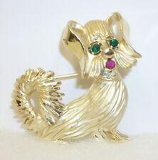 Cute Terrier Dog Brooch Pin Vintage Bsk Jeweled Eye Goldtone
