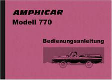 Amphicar 770 Bedienungsanleitung Betriebsanleitung Handbuch Schwimmwagen Auto