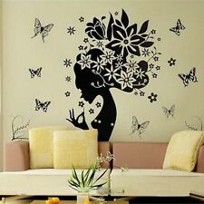 Flowers Hair Girl Wall Sticker Home Decor Butterflies DIY Vinyl Decals Home Deco