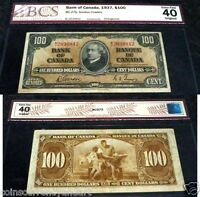 1937 Bank of Canada $100   Certified Changeover Prefix