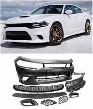 For 15-Up Dodge Charger SRT Hell Cat Style Front Bumper Cover W/ Mesh Grill