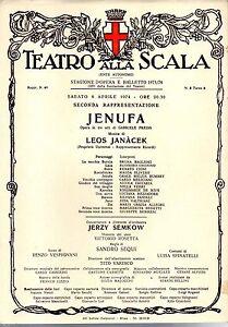 GA35 Stampa reprint  Locandina Teatro alla Scala 6 aprile 1974 -Jenufa