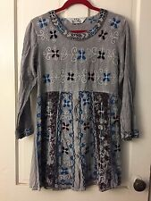 TQ Village Crafted In't Clothing Boho Peasant Folk Art Dress Tunic Embroidery S