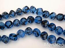 25 8mm Czech Glass Diagonal Hole Cube Beads: Sapphire Tortoise