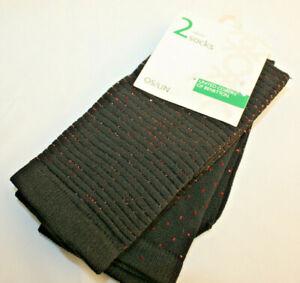 United Colours Benetton ~ SOCKS ~ 2 pairs BNWT one size black w. copper glitter