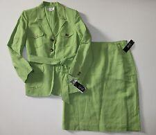 NWT Le Suit Apple Green Linen Blend Belted Blazer 2-Piece Skirt Suit 14