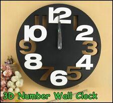 Creative Minimalistic 3D Number Analog Round Art Decor Wall Clock