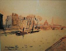 Mykola V. Krychevsky, Ukranian (1898-1961) , Rare original watercolor, Paris