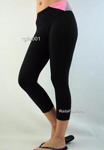 Victoria's Secret PINK Yoga Pieced Flat Crop Legging Stretch Pant Sport Neon