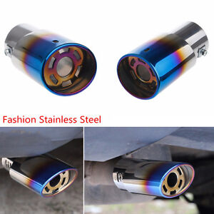 Car Universal Blue Colorful Round Stainless Steel Exhaust Tail Muffler Tip Pipe