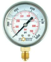 "100mm Rempli de Glycérine Hydraulique Pression Jauge 0-15 Psi (1 Barre ) 1/2 """