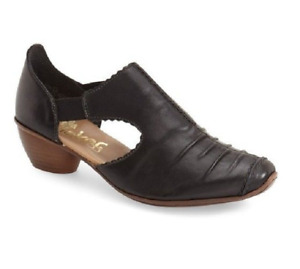 New Rieker 43713 mirjam 13 black leather slip on low heel sz 40/8
