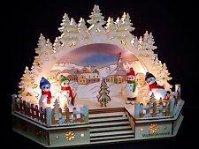 3D LED Arc à lumière à bougies église Seiffen 4 multicolore bonhommes au neige