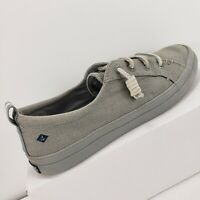 Sperry Top Sider Crest Vibe Gray Canvas Slip On Shoes 7M Womens Topsider