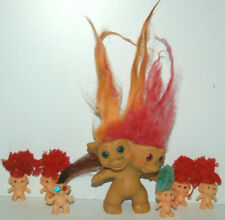 "Vtg 1965 Uneeda 3"" Two Headed Troll Doll pink orange hair yarn gumball charm lot"