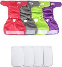 Luxja Reusable Female Dog Diaper Washable Wraps Detach Pads Size Medium Bundle 4