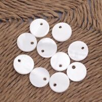 10 PCS Natural White Mother of Pearl  10mm Coin Shell Loose Beads Charms Crafts
