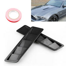 1Pair of Carbon Fiber Look ABS Universal Car Hood Vent Louver Cooling Panel Trim