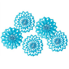 CARIBBEAN BLUE POLKA DOT CHEVRON PAPER FAN DECORATIONS (5) ~ Birthday Supplies