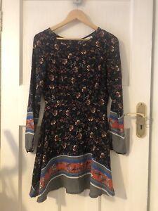 Brave Soul Boho Dress Long Sleeve Size Xs 8 Floral Retro Navy