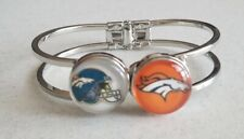 Silver Tone NFL Denver Broncos SNAP Button Hinge Cuff Bangle Bracelet