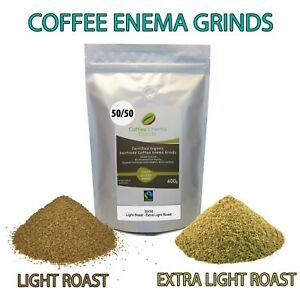 COFFEE ENEMA GRINDS 50/50 LIGHT GOLDEN & EXTRA LIGHT GERSON AIR ROASTED ORGANIC