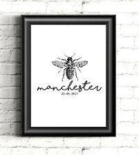 Manchester Bee Design Print - A5 Black & White