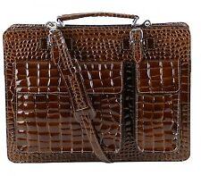 Made in Italy College Bag Schultasche Schultasche Lackleder Kroko Präg. Braun
