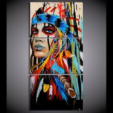 3 Pieces Modern Home Wall the Indians feathered oil painting on canvas (framed)