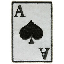 Embroidered Reflective Ace Of Spades Iron on Sew on Biker Patch Badge